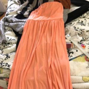 Peach strapless maxi dress